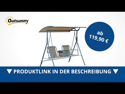 Outsunny Hollywoodschaukel Schaukelbank 2-Sitzer Metall beige - direkt kaufen!