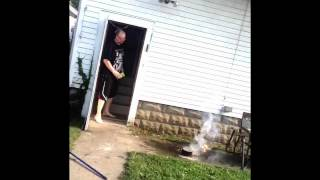 Grease fire explosion!
