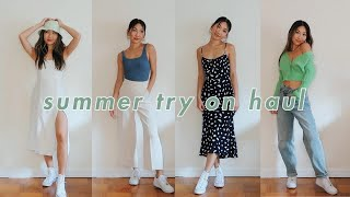 SUMMER TRY ON HAUL 🍋 Cute Tops, Midi Dresses & More! | Aritzia, Urban Outfitters, Yesstyle