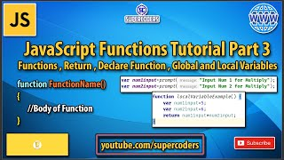 JavaScript Function Tutorial Part 3 | Functions | Global Variable vs Local Variable