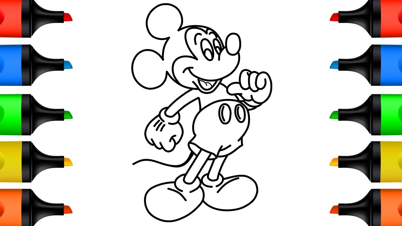 How to draw mickey mouse coloring pages for children youtube videos for kids 4k kidsmood