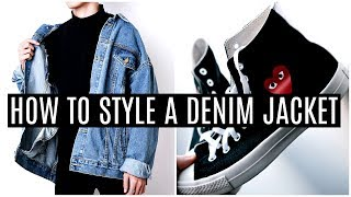 HOW TO STYLE A DENIM JACKET   3 Different Looks   Mens Fashion 2018