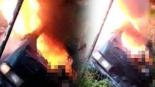 Video Detik-detik Wanita Tewas Terbakar Hidup-hidup di Dalam Mobil, Suami Sempat Selamatkan Diri