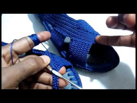 How to crochet sandals (crochet sandals tutorial / crochet cover shoe by ilodinibe Chidimma)