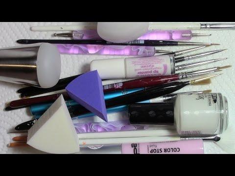 Meine Nageldesign Pinsel & Hilfsmittel / Schwämmchen, Dotting Tool, Nagelhautschutz, Farbverlauf