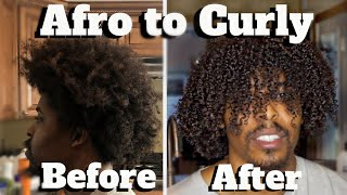 MENS CURLY HAIR ROUTINE | How To Make Hair Curly | AFRO TO CURLY