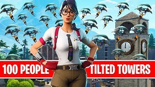 100 PEOPLE LAND TILTED TOWERS! Custom Games w/ Viewers! (Fortnite Battle Royale)