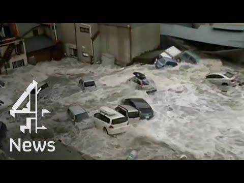 لقطات مرعبة من تسونامي في مدينة مياكو.
