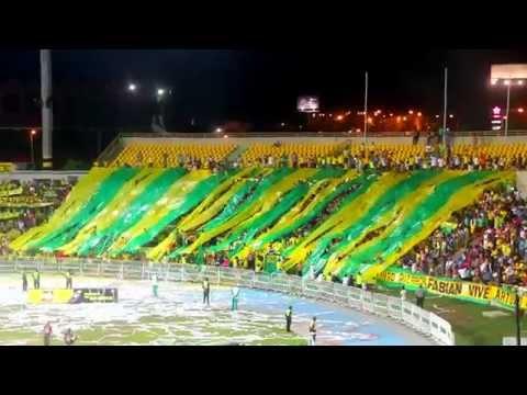 """""""REBELION AURIVERDE NORTE - EN EL ESTADIO DONDE JUEGA EL CARTACHO VS AMERICA 2/11/2015"""" Barra: Rebelión Auriverde Norte • Club: Real Cartagena"""