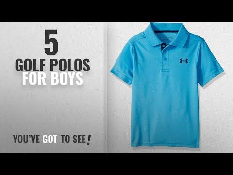 Top 10 Golf Polos For Boys [2018]: Under Armour Boys' Performance Polo Short Sleeve Shirt, Canoe