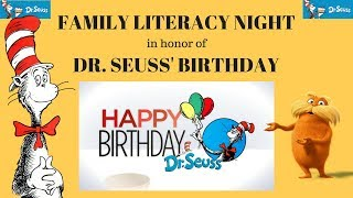 FAMILY LITERACY NIGHT In Honor Of DR  SEUSS BIRTHDAY!!! Fun Activity In School!