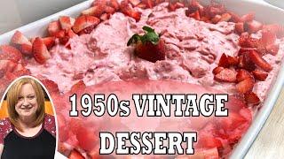 STRAWBERRY DELIGHT SALAD RECIPE | 1950s Vintage No Bake Dessert