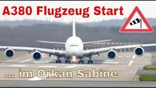 Emirates A380 plane launch in hurricane Sabine / Storm CIARA