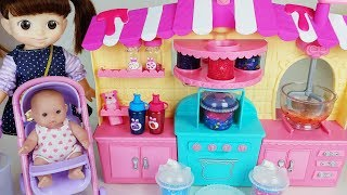 Baby doll kitchen cooking toys and juice shop play - ToyMong TV 토이몽