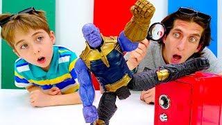 Танос и супергерои! - Игра детектив для детей. Видео с игрушками.
