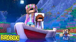 Minecraft BIRDBOX: ATTACKED ON THE RIVER! | Little Carly Adventures.