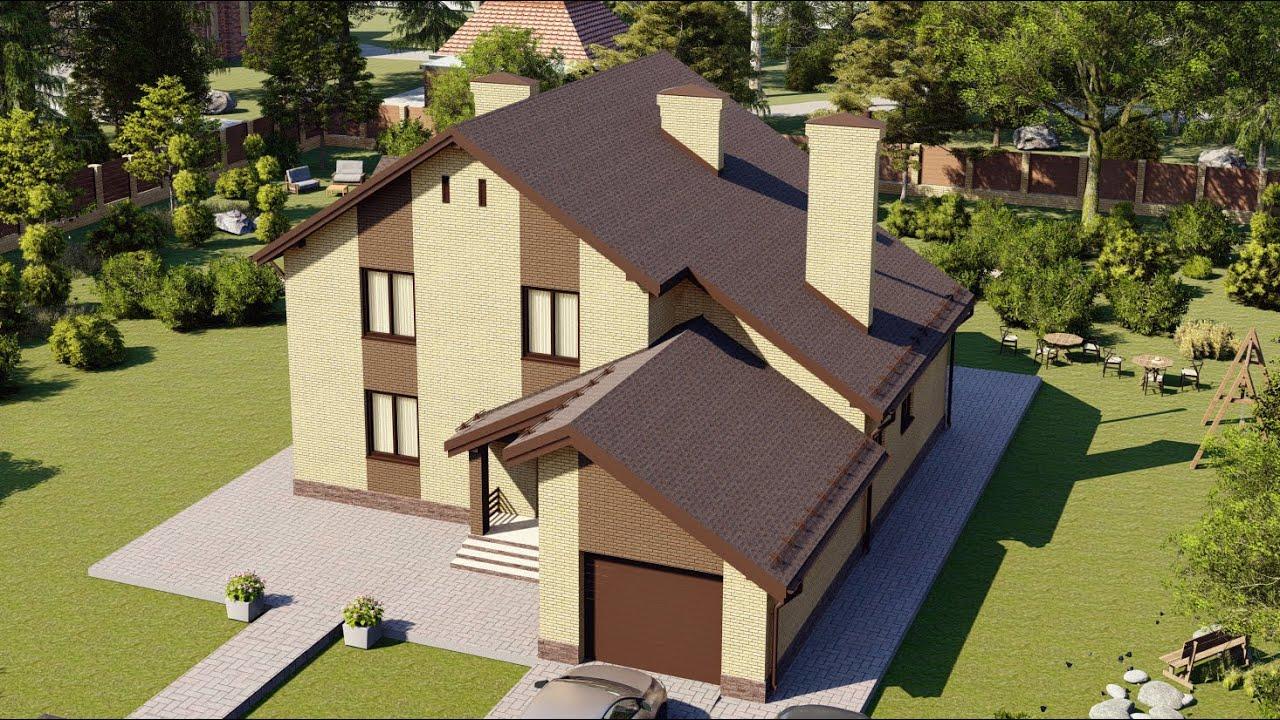 Проект двухэтажного дома с мансардой и гаражом 284 м2