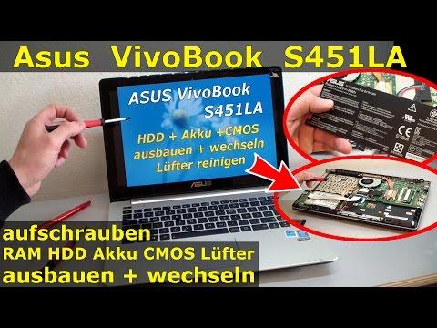 Asus Vivobook Notebook öffnen - Akku SSD HDD RAM Lüfter CMOS wechseln | Laptop S451LA