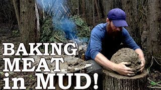 Baking Wild MEAT in MUD | Strange Ancient Cooking Technique! | Handdrill, Knotweed, Burdock, Leeks