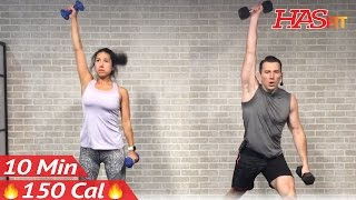 10 Minute Workout : HIIT Workout for Fat Loss & Strength Training Dumbbell Full Body Workout at Home by HASfit