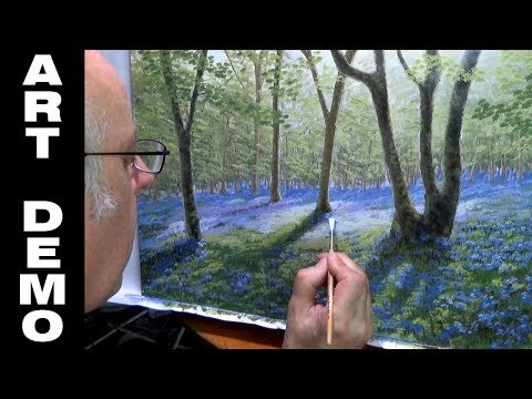 Bluebells at Banstead Woods Oil Painting Time-lapse Demo