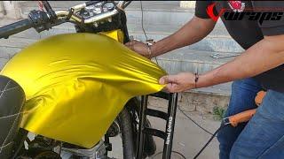 Royal Enfield Vinyl Wrapping Yellow Satin Chrome   Bullet Modification   Vwraps Sikar  