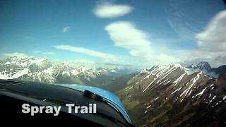 VFR mountain flight in a Cessna 182 in the Canadian Rockies