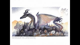 Nesting Dragon - Watercolor Time-lapse