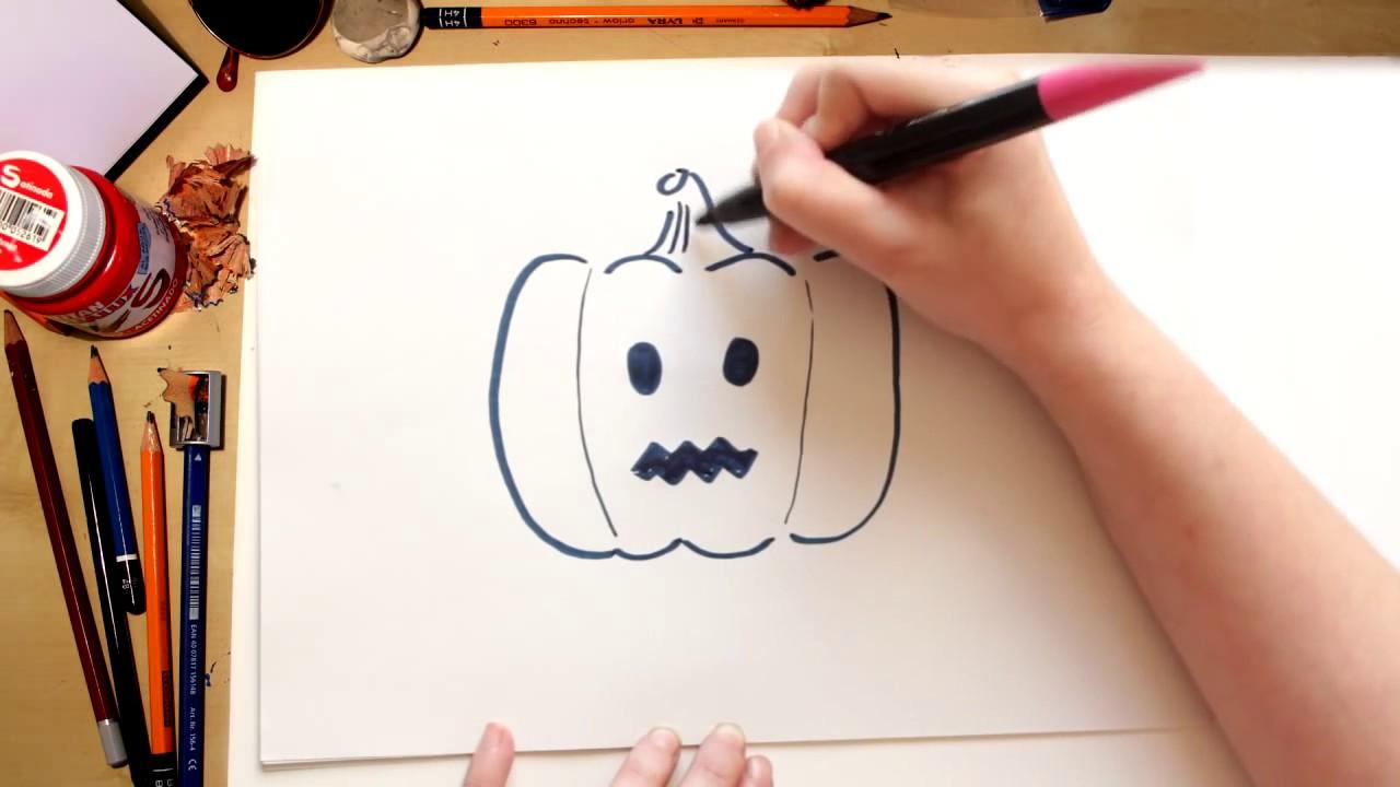 Como desenhar a Abóbora de Halloween - desenhos de Halloween para crianças