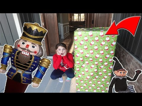 Huge Present From Mean Elf On The Shelf! Stalked By A Huge Nut Cracker
