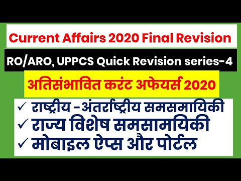 Current Affairs Final Revision-4 (National and International, States special and Mobile app portals)