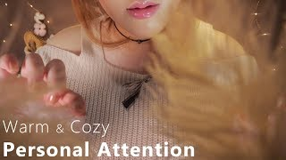 ASMR Warm & Cozy Personal Attention 🌙 (Touching Your Face, Massage, Cleansing, Haircut, Makeup)