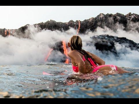 Video Alison Teal Tries Surfing Hawaii Volcano Eruption