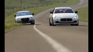 Maserati Ghibli S vs Audi RS4 Avant at Highlands