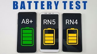 Samsung Galaxy A8+ vs Redmi Note 5 vs Redmi Note 4 BATTERY TEST !!