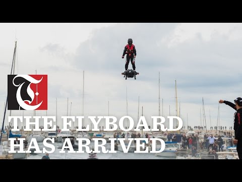 Franky Zapata has set a new Guinness World Record for the farthest hoverboard flight during a spectacular attempt off the coast of Sausset-les-Pins on Saturday, April 30, 2016.