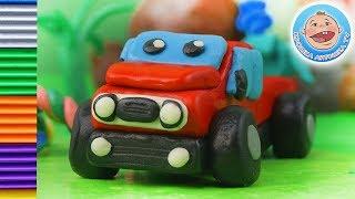 Красный пикапчик - Машинки для детей - Как слепить из пластилина пикап
