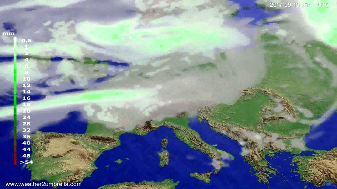Precipitation forecast Europe 2017-09-10