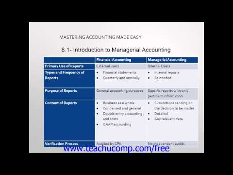 Accounting Tutorial 2.0 Introduction to Managerial Accounting ...