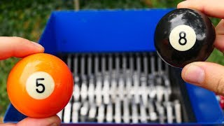 BILLIARD BALLS VS FAST SHREDDER! AMAZING VIDEO!