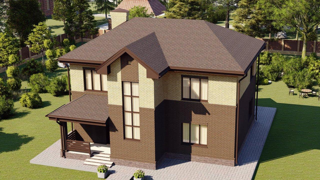 Проект красивого 2-х этажного дома из газобетона 156 м2