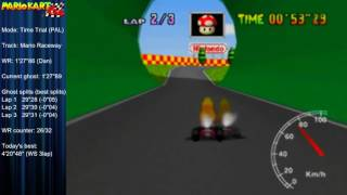 "MK64 - former world record on Mario Raceway - 1'27""85 (NTSC: 1'13""06)"