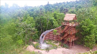 Build Four Story Wood Brick Villa House &  Swimming Pool With Water Slide By Ancient Skills ( full)