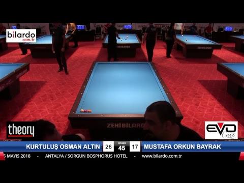 KURTULUŞ OSMAN ALTIN & MUSTAFA ORKUN BAYRAK Bilardo Maçı - 2018 ERKEKLER 2.ETAP-1.Ön Eleme