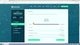 NanoHash   новый псевдо облачный майнинг криптовалюты Биткоин   Бонус 15 KH s