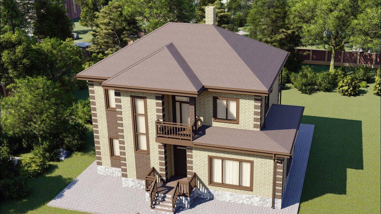 Проект большого двухэтажного дома 201 м2 с четырьмя спальнями
