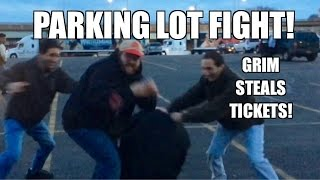 PARKING LOT FIGHT at the WWE ROYAL RUMBLE! Grim Steals tickets! Meeting Fans!