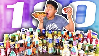 100 FLAVORS OF CONDIMENTS IN A HOT DOG EXPERIMENT!