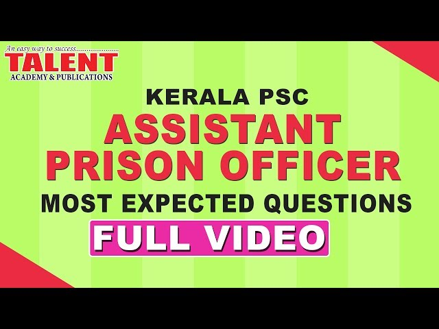 Assistant Prison Officer Model Questions FULL VIDEO