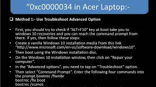Steps For Recovery Error Code 0xc0000034 in Acer laptop